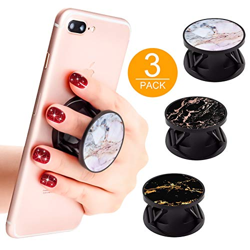 3 Pack New Version Phone Holder Black White Marble Grip Stand Finger Holder for Smartphone and Tablets