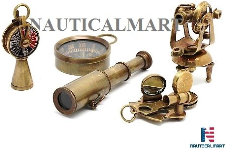 Nauticalmart Miniatur-Set Teleskop, Theodolit, Telegraph, Casanova nauticals Sextant, Kompass (Schlüsselanhnger)