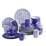 vancasso Serie TAKAKI, Piatti Servizio 8 Persone Offerte Set Piatti 32 Pezzi Stile Giapponese Blu in Porcellana con Piatti da Dessert, Tazza da Caffè, Piatti Piatto, Ciotole per Cereali