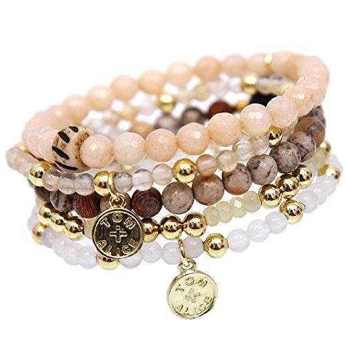 tom+alice Beaded Bracelets for Women Stackable Handcut Natural Stones 5 pcs Ermish Stretch Set Bangle Agate Gemstone Bracelet Bangle