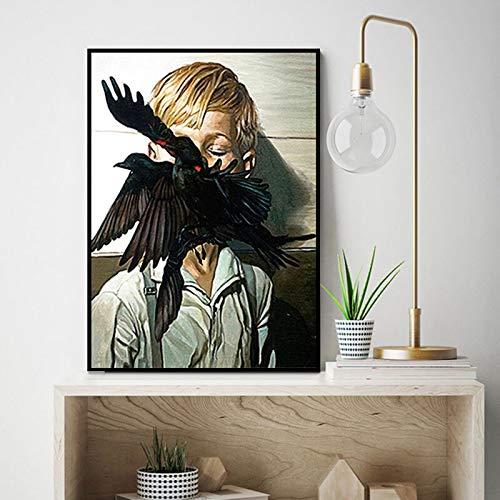 wZUN Pintura Abstracta de la Lona de la Mujer en el Cartel de la Mariposa de la Flor de la Hoja del pájaro y la Imagen Mural Impresa para la decoración del hogar 60X90 Sin Marco