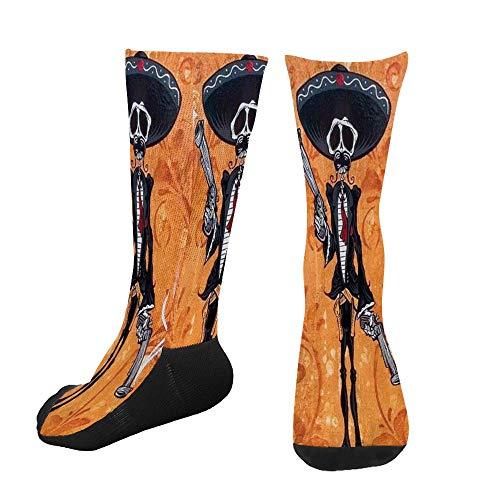Men's Women's Novelty Custom Socks Personality Skeleton Having Fired Pistols Print Casual Dress Crew Socks