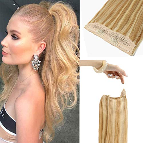 UGOTRAYS 20 Inch Halo Hair Extensions Blonde Silky Straight Real Hair Highlighted Light Golden Brown and Light Blonde Halo Hairpiece Extensions Secret Halo Hair Extensions with Clips One Piece 100g