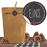 24 Adventskalender Kraftpapiertüten mit 24 Zahlen-Aufklebern Schick und Schwarz zum Verschließen für den Adventskalender zum Basteln und Befüllen