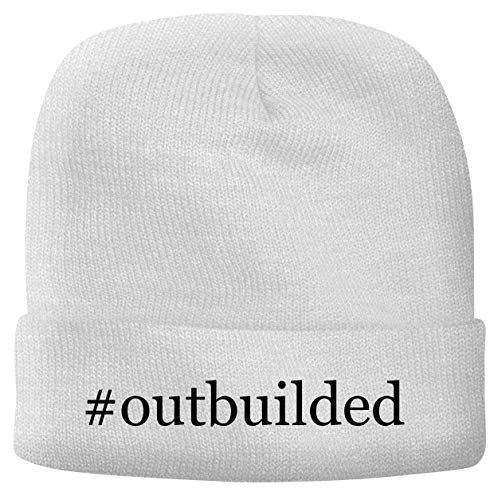 BH Cool Designs #Outbuilded - Men's Hashtag Soft & Comfortable Beanie Hat Cap, White, One Size
