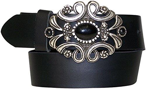 FRONHOFER Damengürtel mit schöner Schmuck-Gürtelschnalle, schwarzer Stein, Gürtel aus echtem Rindsleder, Größe:Körperumfang 110 cm/Gesamtlänge 125 cm, Farbe:Schwarz