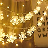 WeyTy Guirnalda de Navidad con Luces LED de 6.5pies y 20LED, Guirnalda de Cono de Pino de Frutos Rojos, Luces de Guirnalda LED, Decoración Navideña para el Hogar, Guirnalda de Chimenea (Copo de Nieve)