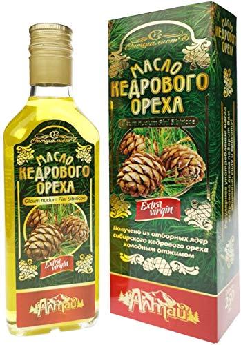 Zedern-Nussöl aus Sibirischen Zedern | Kalt gepresst Extra Virgin | Inkl. hochwerigem Flaschenausgießer 250 ml