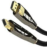 KabelDirekt – 2m Cable DisplayPort (Versión 1.2, resolución de hasta 4K 60Hz, HDCP, con Tapones Dorados, Conector con Bloqueo y Revestimiento de Nailon, para Aplicaciones Multimedia y de Juegos)