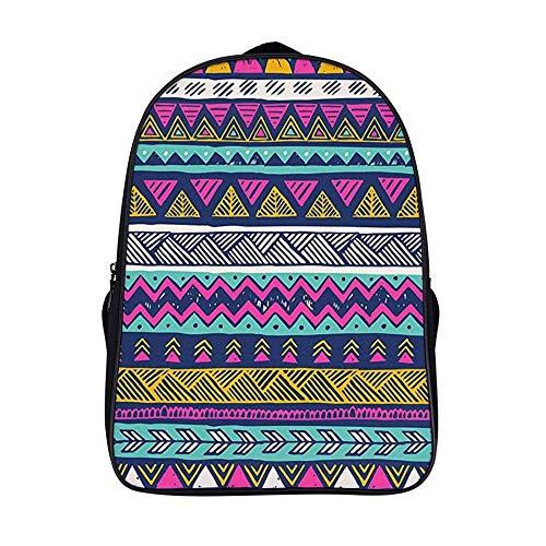 XIAHAILE Stilvolle Schultaschen für Mädchen und Jungen, Reisetasche für Studenten, Tagesrucksack, langlebig, multifunktional, Freizeit-Bookbag, Schnittmuster im Boho-Stil