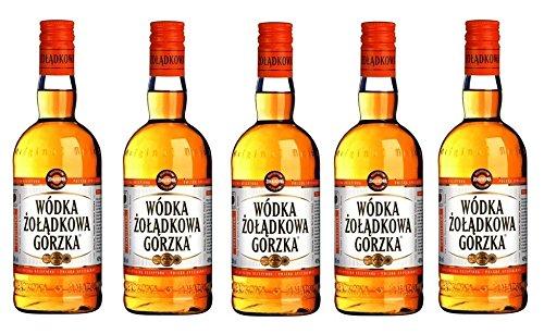 Polnischer Traditions Wodka Polnischer Wodka Zoladkowa Gorzka Polska Wodka 0,5 Liter 5 Flaschen = 2,5 Liter
