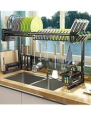 キッチンした収納ラック食器 水切り キッチン収納 (調整可能 シンク上 食器 水切りラックキッチン収納棚 水切りかご シンク上水切りラック 台所用品ホルダ 食器 水切りラック シンク上水切りかご ステンレス製 (85-100CM))