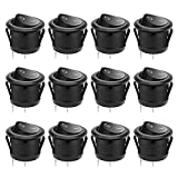 MXRS 12 Pcs SPST Snap-in ON-Off 2 Pin Round Snap Rocker Boat Switch Black AC 250V 6A 125V 10A for Car Auto Boat Household Appliances