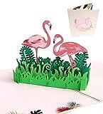 Karte zum Valentinstag, Deesospro® Geburtstagskarte für Liebhaber, 3D Pop-Up-Grußkarte mit schönen Papier-Cut, beste Geschenk für den Geburtstag oder Jahrestag des Liebhabers (Flamingo)