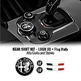 4R Quattroerre.it 32772 Kit autocollant Alfa Romeo Logos + Drapeau Italie pour intérieur Giulia Stelvio