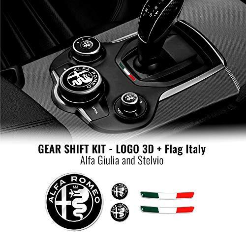 4R Quattroerre.it 32772 Kit Adesivo Alfa Romeo Loghi + Bandiera Italia per Interno Giulia Stelvio