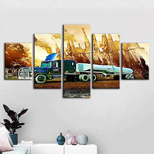 WZXHN Modern Canvas HD Impreso Poster Decoración del hogar 5 Piezas Trailer Truck Painting Wall Artwork Imagen para Boy Room Fondo Modular Wall Art Pictures