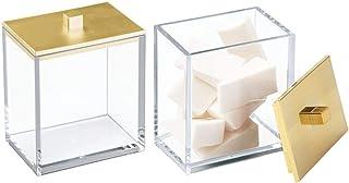 mDesign Modern Square Bathroom Vanity Countertop Storage Organizer Canister Jar for..