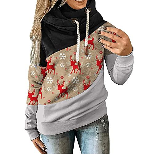Turtle Neck Long Sleeves for Womens Hoodie Sweatshirt Christmas Festival Pullover Loose Fit Tops Blouses