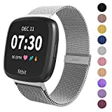 Limque Magnetic Bands Compatible with Fitbit Versa/Versa 2/Versa Lite/SE, Women Men Metal Adjustable Replacement Wristband for Fitbit Versa Smart Watch Multi-Color (Silver, Small)