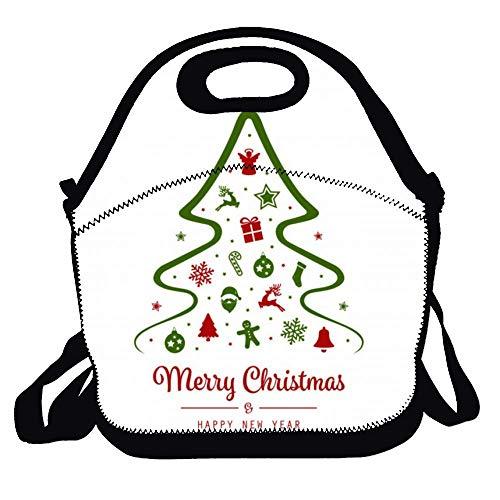 N\A Ensemble d'arbres de Noël Aquarelle Set Vector Portable Carry Sac à Lunch isolé - Sac Bento - Sacs fourre-Tout réutilisables pour Femmes, Filles, bébé, Adultes