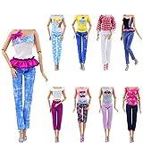 ZITA ELEMENT 10 Stück Puppensachen für Puppe Mode Handgefertigte Kleider Outfits T-Shirt Bluse Kostüm Kleidung Puppenkleider -
