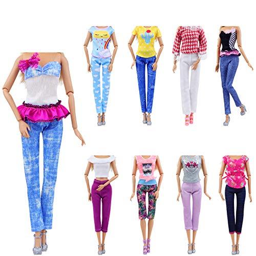ZITA ELEMENT 10 Stück Puppensachen für Puppe Mode Handgefertigte Kleider Outfits T-Shirt Bluse Kostüm Kleidung Puppenkleider