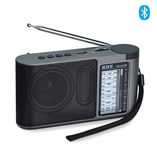 Songway Altavoz Bluetooth portátil inalámbrico Radio FM AM SW Radio de bolsillo simple para personas mayores Radio de onda corta con botón de ajuste, cable de carga USB (plateado)