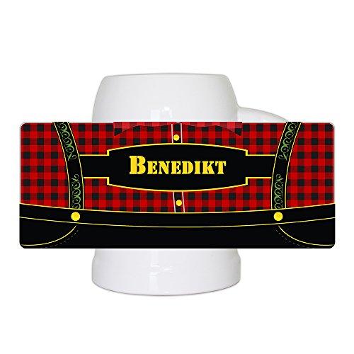 Bierkrug mit bayerischem Lederhosen-Motiv und Namen Benedikt personalisiert | Bier-Humpen | Bier-Seidel