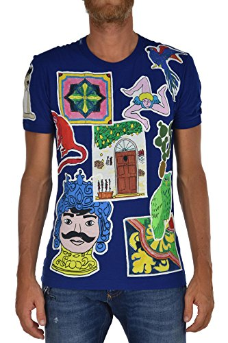 Dolce & Gabbana Camiseta de hombre azul de algodón con cuello redondo y parche con logo Talla IT44 azul claro 44