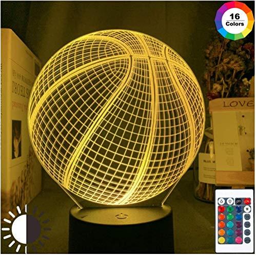 Lámpara De Noche De Ilusión 3D Holograma De Pelota De Baloncesto Luz De Noche De Acrílico Para Decoración De Habitación Regalo Único Para Dormitorio De Estudiante Luz De Noche