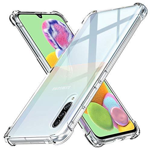 Peakally Funda Samsung Galaxy A90 5G, Transparente Silicona Funda para Samsung Galaxy A90 5G Carcasa Flexible Claro Ligero TPU Fundas [Antideslizante] [Resistente a arañazos]-Transparente