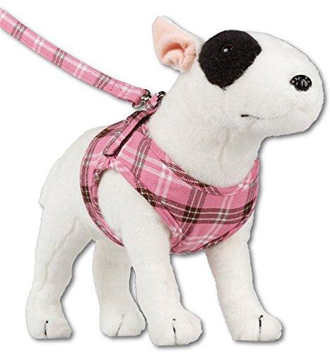 Doxtasy Westengeschirr Hundegeschirr für kleine Hunde rosa karriert Geschirr Weste (M)