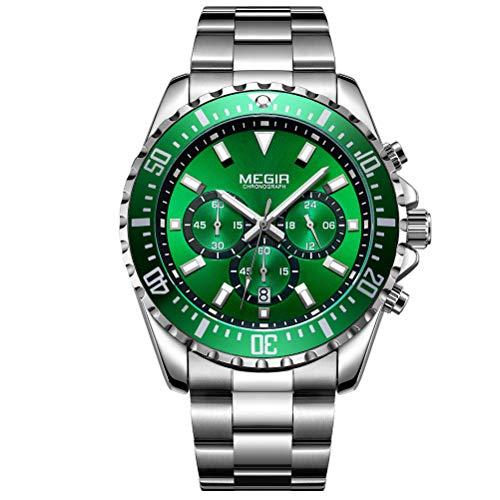 Herren Uhren Grün Männer Wasserdicht Silber Edelstahl Groß Armbanduhr Sport Business Mode Design Kleid Datum Kalender Analoge Quarz Schwer Uhr
