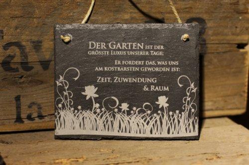 Schiefertafel schöner Gartenspruch -Garten ist der grösste Luxus unserer Tage Schiefer Schild Blumenwiese