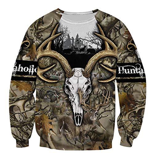 Hoodeint&Hen Hunter Camo 3D Camisas Estampadas para Hombres y Mujeres Sudadera con Capucha Sudadera Chaquetas con Cremallera Black S