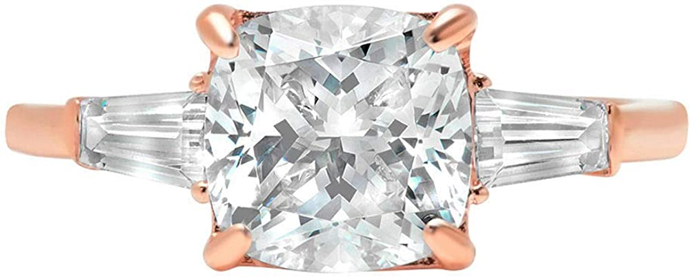 3.5ct Radiant Baguette 3-Stone Classic Designer free shipping Sale Weddin Solitaire