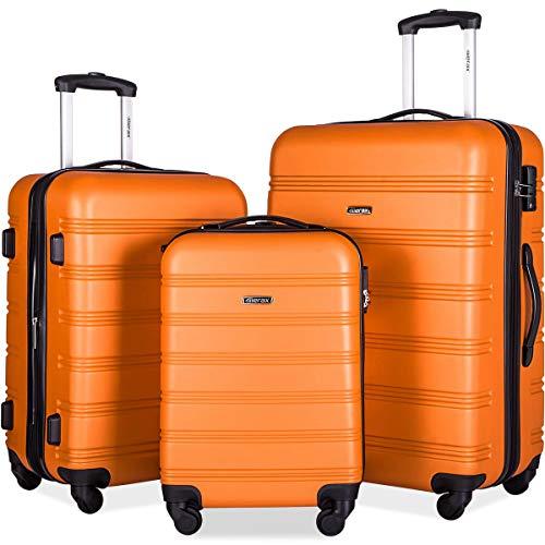 Merax Expandable Luggage Sets with TSA Locks, 3 Piece Lightweight Spinner Suitcase Set (Orange)