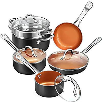 SHINEURI Nonstick Ceramic Copper 10 Pieces Cookware Set, Aluminum Pots and Frying Pans Set, Steamer and Sauce pan with Stainless Steel Handle & Lid, Suitable for Induction, Gas, Electric and Stovetops