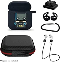 6 in 1 Airpods Protective Charging Case/Cover Silicon Fun Cool Cute Superhero DC/Marvel Carabiner/Hook/Ear Buds/Watch Strap (Black Batman/Red Flash/Yellow Iron Man/Blue Thor Hammer) (Black)