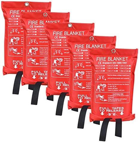 Aaaspark 5 Pack 60 X60 Fire Blanket Fiberglass Fire Emergency Blanket Suppression Blanket Flame product image