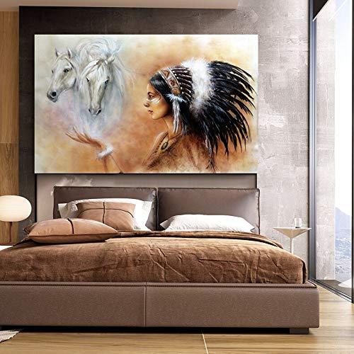 KWzEQ Imprimir en Lienzo Pluma indígena Mujer India con Caballo Sala de Estar HD impresión Lienzo Pintura al óleo decoración del hogar70x105cmPintura sin Marco