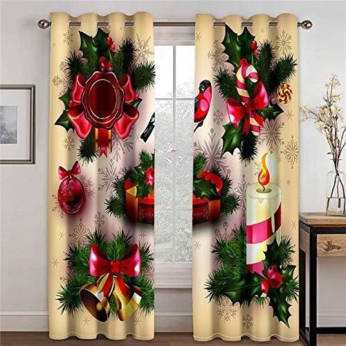 LOVEXOO 3D Stampate Tende Albero di Natale L70 x A260cm Tenda a Occhiello - Tende in Poliestere Anti-UV 3D Stampante Pannelli Finestra Tendiini per Porta