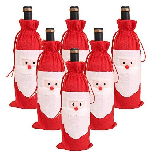 Bolsa de Navidad para botellas de vino de Papá Noel, funda para botella de vino tinto con cordón, bolsa de regalo para Navidad, bodas, fiestas, festivales, viajes, cenas, decoración de mesa
