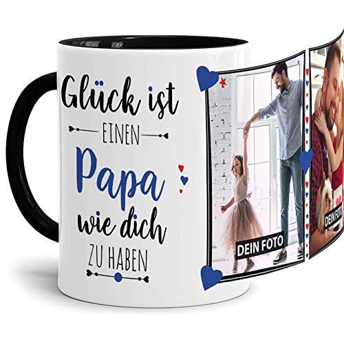 Tassendruck Fototasse mit Spruch für Papa - Glück ist, jemanden wie Dich zu haben - zum Selbst gestalten mit 2 Fotos, Innen & Henkel Schwarz, 300 ml