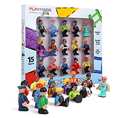 Playmags Magnetic Figures-Community Figures Set of 15 Pieces - Play People Perfect for Magnetic Tiles - STEM Learning Toys Children - Compatible w Other Brands (Magnetic Figures) by Playmags