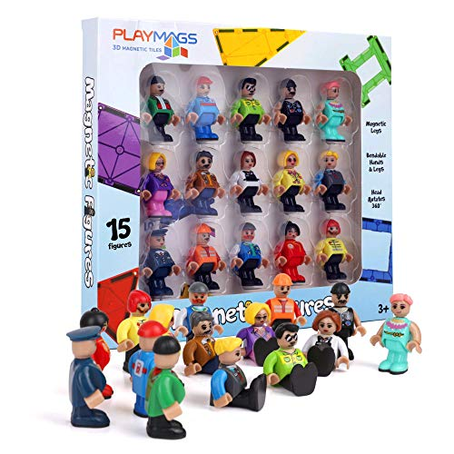 Playmags Colorful Tile Set  Unique Award-Winning Magnetic Building Tiles for Kids  Creativity and Educational Building Toys for Children  STEM Approved (15 Figures Edition)
