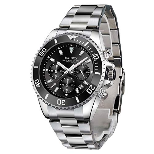 Watches for Men,Quartz Chronograph Mens Watch,Stainsteel Steel Anti-Rust Mens Wrist Watch Waterproof Perfect for Business and Casual Use