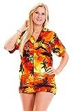 Funky Camisa Blusa Hawaiana, Manga Corta, Surf, Naranja, S