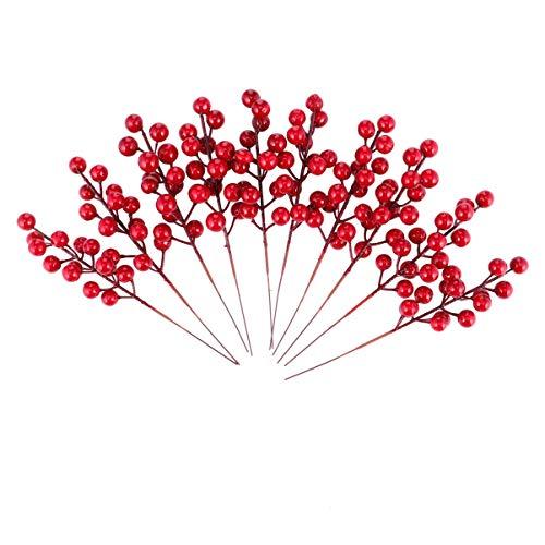 Amosfun - 10 rami di bacche artificiali di bacca rossa, in seta artificiale, per fai da te e decorazioni per bambini